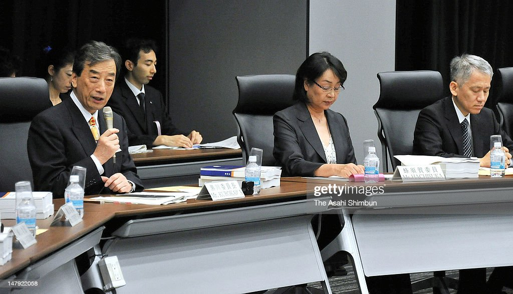 Kiyoshi Kurokawa (L) , head of the Fukushima Nuclear Accident Independent Investigation Commission speaks on the final report of the Fukushima Daiichi Nuclear Power Plant accident on July 5, 2012 in Tokyo, Japan. Lambasting both Tokyo Electric Power Co. and the prime minister's office, the fianl report recommended an overhaul of the government's crisis management system.