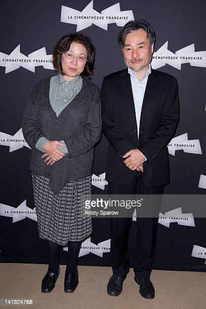 Kiyoshi Kurosawa and his wife Hiromi Kurosawa attend the Kiyoshi Kurosawa retrospective opening at La Cinematheque on March 14 2012 in Paris France