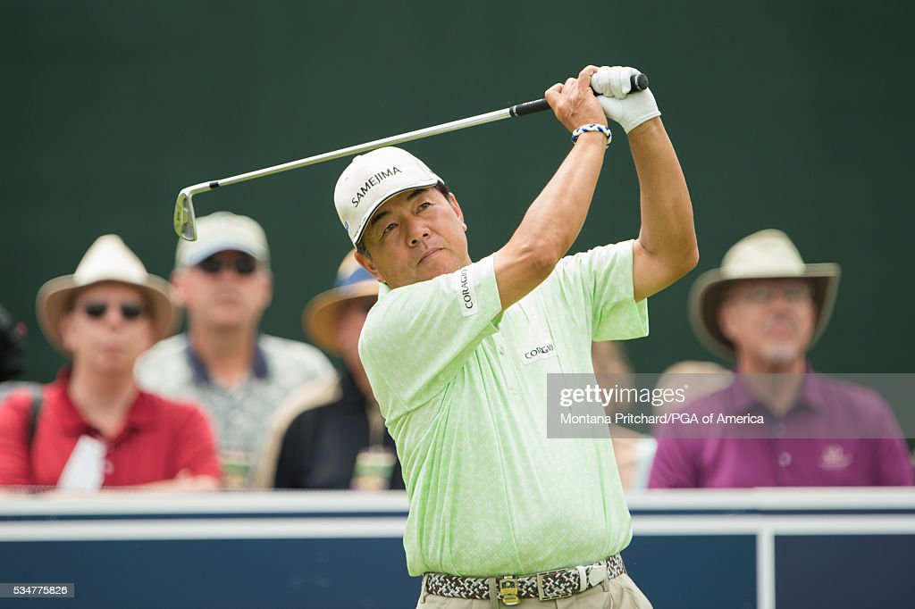 <a gi-track='captionPersonalityLinkClicked' href=/galleries/search?phrase=Kiyoshi+Murota&family=editorial&specificpeople=3076195 ng-click='$event.stopPropagation()'>Kiyoshi Murota</a> hits his tee shot on the 17th hole during the second round for the 77th Senior PGA Championship presented by KitchenAid held at Harbor Shores Golf Club on May 27, 2016 in Benton Harbor, Michigan.