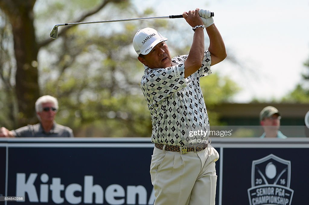 <a gi-track='captionPersonalityLinkClicked' href=/galleries/search?phrase=Kiyoshi+Murota&family=editorial&specificpeople=3076195 ng-click='$event.stopPropagation()'>Kiyoshi Murota</a> of Japan hits a shot from the 17th tee box during the first round 2016 Senior PGA Championship presented by KitchenAid at the Golf Club at Harbor Shores on May 26, 2016 in Benton Harbor, Michigan.