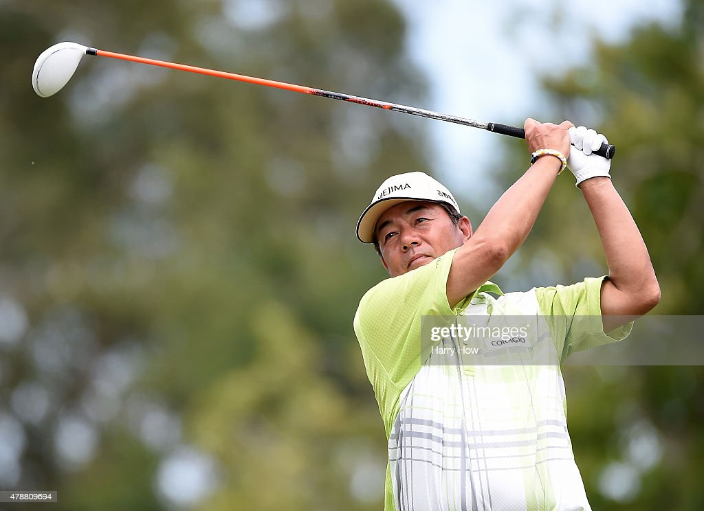 <a gi-track='captionPersonalityLinkClicked' href=/galleries/search?phrase=Kiyoshi+Murota&family=editorial&specificpeople=3076195 ng-click='$event.stopPropagation()'>Kiyoshi Murota</a> of Japan hits a tee shot on the 16th hole during round three of the U.S. Senior Open Championship at the Del Paso Country Club on June 27, 2015 in Sacramento, California.