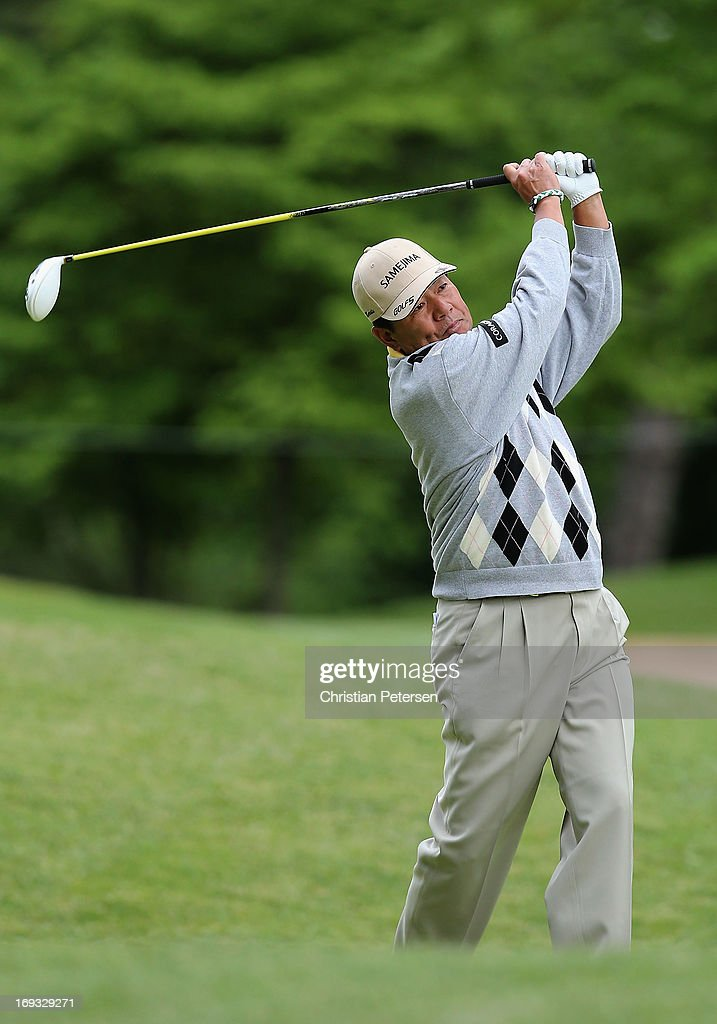 <a gi-track='captionPersonalityLinkClicked' href=/galleries/search?phrase=Kiyoshi+Murota&family=editorial&specificpeople=3076195 ng-click='$event.stopPropagation()'>Kiyoshi Murota</a> of Japan hits a tee shot on the fourth hole during Round One of the Senior PGA Championship presented by KitchenAid at Bellerive Country Club on May 23, 2013 in St Louis, Missouri.