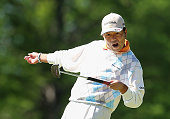 Kiyoshi Murota of Japan reacts to a missed birdie putt on the third hole green during Round Two of the Senior PGA Championship presented by...