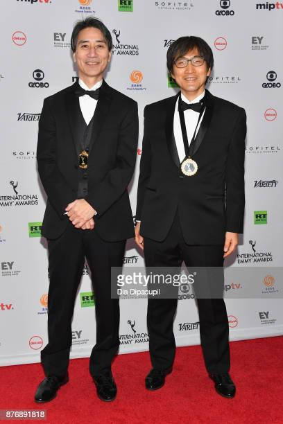 Kiyoshi Umibe and Hiroshi Kataoka of Moribito Guardian of the Spirit nominated for drama series attends the 45th International Emmy Awards at New...