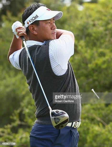 Kj Choi of Korea plays a tee shot during day one of the World Cup of Golf at Royal Melbourne Golf Course on November 21 2013 in Melbourne Australia
