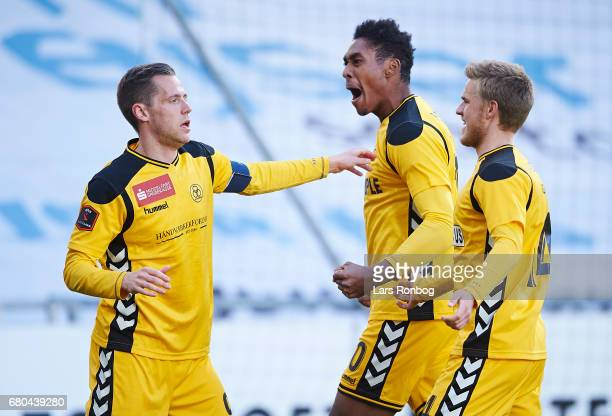 Kjartan Henry Finnbogason Mikkel Mena Qvist and Jonas Gemmer of AC Horsens celebrate after scoring their first goal during the Danish Alka Superliga...