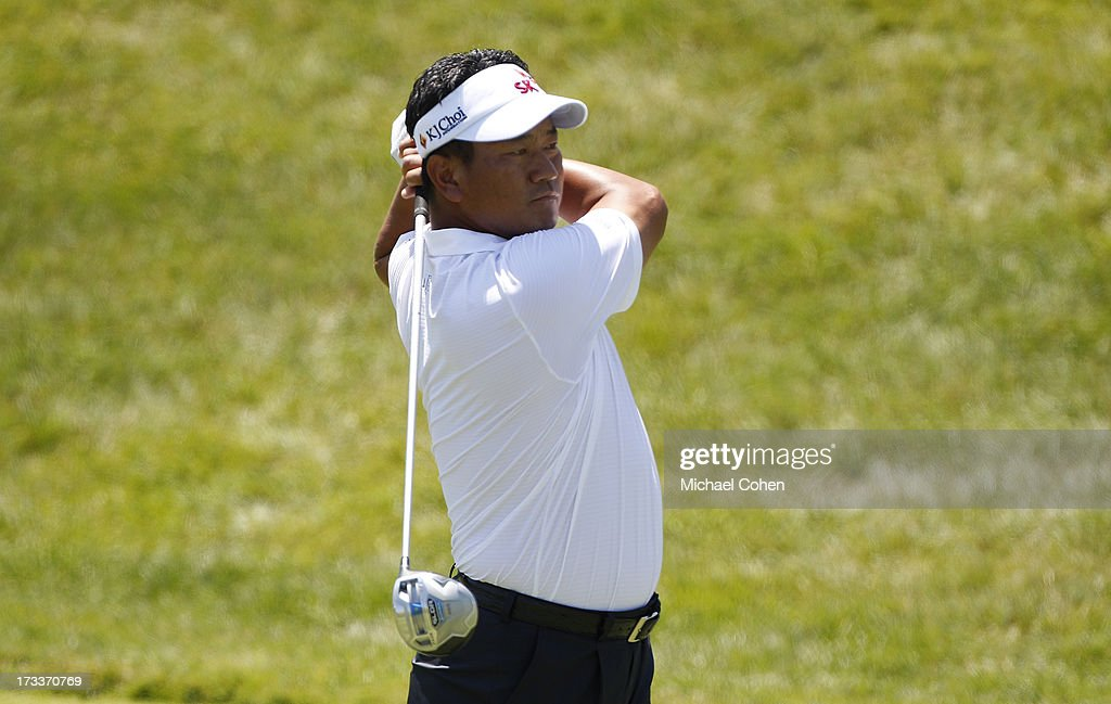 Choi of South Korea hits a drive during the second round of the John Deere Classic held at TPC Deere Run on July 12, 2013 in Silvis, Illinois.