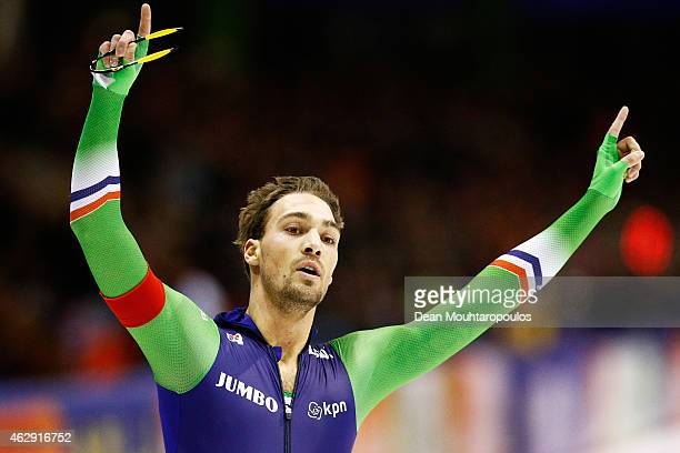 Kjeld Nuis of the Netherlands celebrates after he competes in the 1000m Mens race during day 1 of the ISU World Cup Speed Skating held at Thialf Ice...