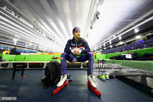 Kjeld Nuis of the Netherlands gets ready to compete in the Mens 1000m race on day three during the ISU World Cup Speed Skating held at Thialf on...