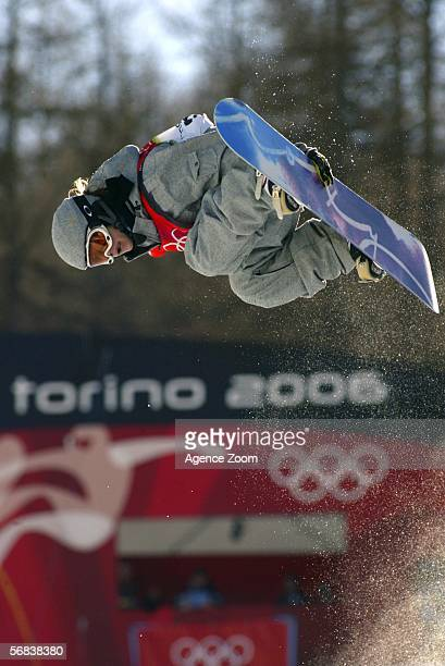 Kjersti Buaas of Norway competes in the Snowboard Half Pipe Final on Day 3 of the 2006 Turin Winter Olympic Games on February 13 2006 in Bardonecchia...
