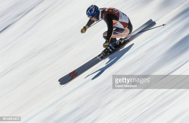 Kjetil Andre Aadmodt of Switzerland skis a training run prior to the Men's Downhill event of the Alpine Skiing competition of the 2002 Winter Olympic...