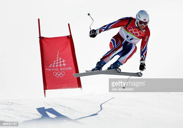 Kjetil Andre Aamodt of Norway competes in the Mens Downhill Alpine Skiing Final on Day 2 of the 2006 Turin Winter Olympic Games on February 12 2006...