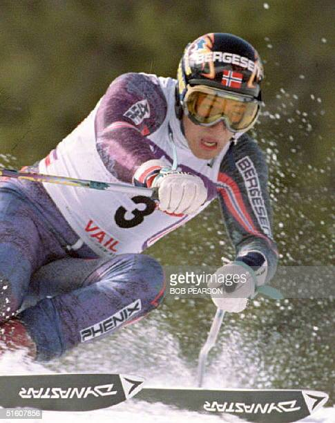 Kjetil Andre Aamodt of Norway edges his way to victory in the final men's World Cup Giant Slalom of the season in Vail CO 19 March 1994
