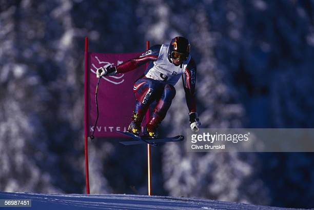 Kjetil Andre Aamodt of Norway in action during the mens downhill at the XVII Olympic Winter Games held on February 25 1994 in Lillehammer Norway