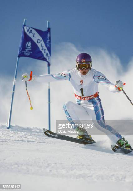 Kjetil Andre Aamodt of Norway skis in the Men's Giant Slalom event of the Alpine Skiing competition of the 1992 Winter Olympics held at Val d'Isere...