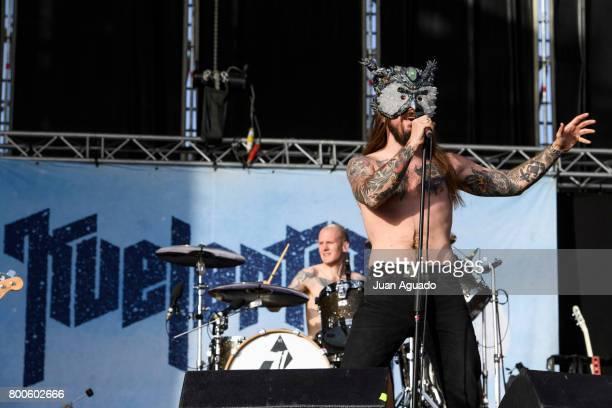 Kjetil Gjermundrod and Erlend Hjelvik of Kvelertak perform on stage at the Download Festival on June 24 2017 in Madrid Spain