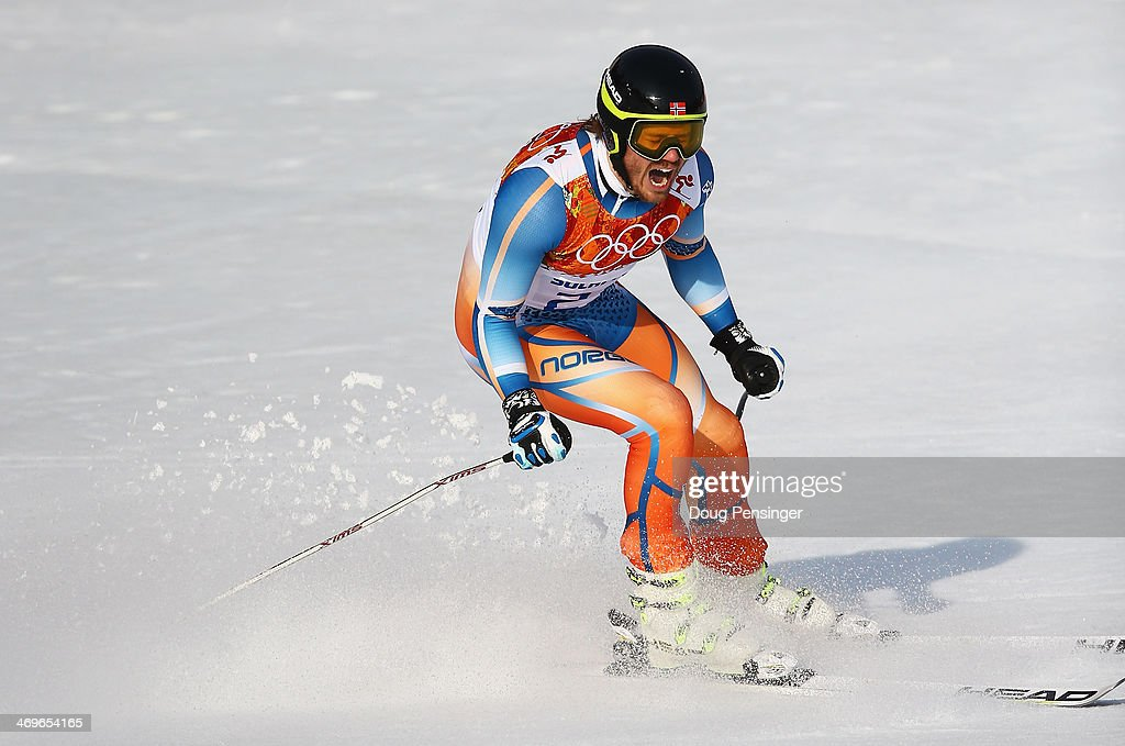 <a gi-track='captionPersonalityLinkClicked' href=/galleries/search?phrase=Kjetil+Jansrud&family=editorial&specificpeople=816480 ng-click='$event.stopPropagation()'>Kjetil Jansrud</a> of Norway celebrates after a run during the Alpine Skiing Men's Super-G on day 9 of the Sochi 2014 Winter Olympics at Rosa Khutor Alpine Center on February 16, 2014 in Sochi, Russia.