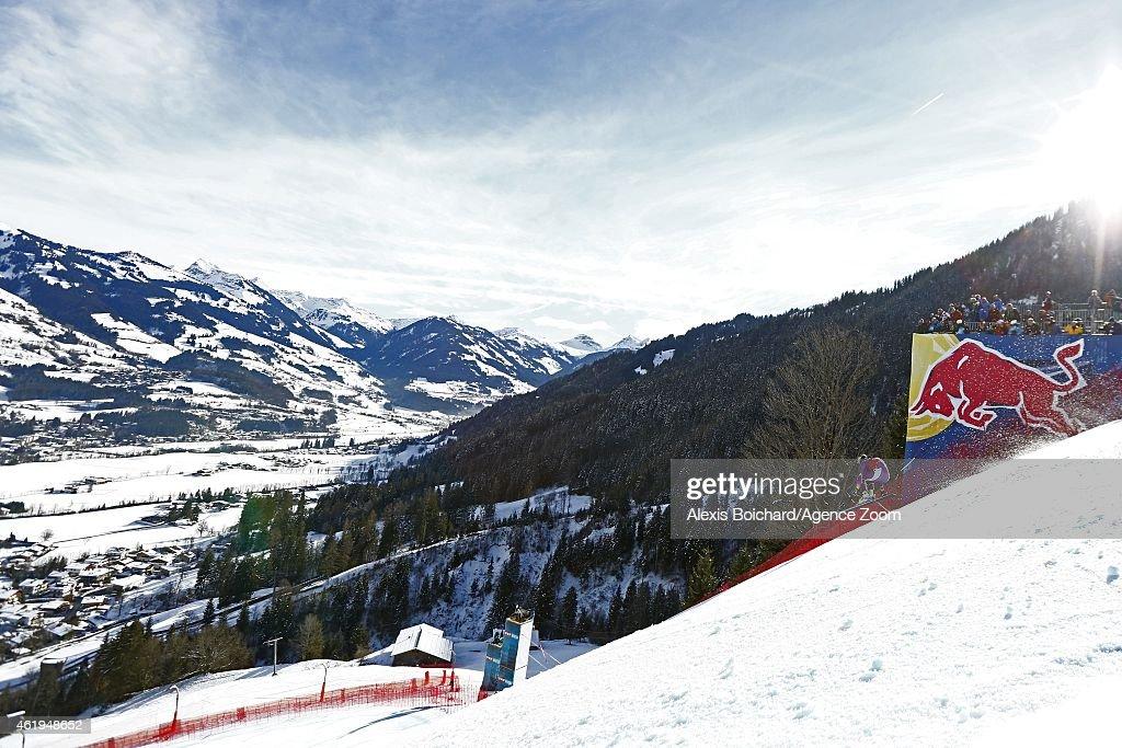 Kjetil Jansrud of Norway competes during the Audi FIS Alpine Ski World Cup Men's Downhill Training on January 22 2015 in Kitzbuehel Austria