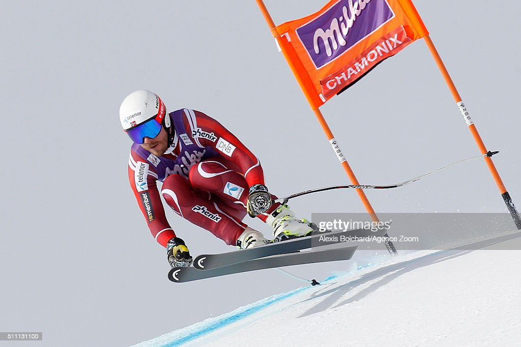 <a gi-track='captionPersonalityLinkClicked' href=/galleries/search?phrase=Kjetil+Jansrud&family=editorial&specificpeople=816480 ng-click='$event.stopPropagation()'>Kjetil Jansrud</a> of Norway competes during the Audi FIS Alpine Ski World Cup Men's Downhill Training on February 18, 2016 in Chamonix, France.