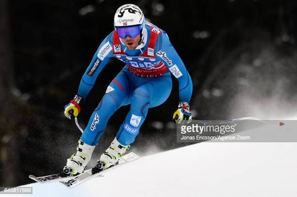 Kjetil Jansrud of Norway competes during the Audi FIS Alpine Ski World Cup Men's Downhill on February 25 2017 in Kvitfjell Norway
