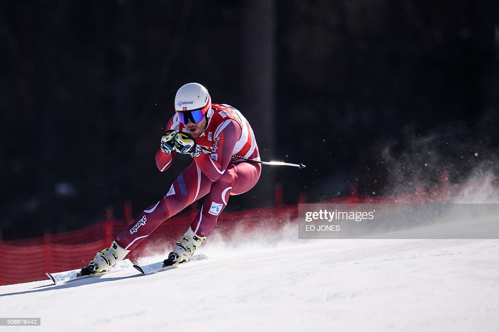 Kjetil Jansrud of Norway competes in the 8th Men's Downhill event of the FIS Alpine Ski World Cup in Jeongseon county, some 150km east of Seoul on February 6, 2016. The FIS Ski Men's World Cup runs from February 6-7 and is the first official test event for the Pyeongchang 2018 Winter Olympics. AFP PHOTO / Ed Jones / AFP / ED
