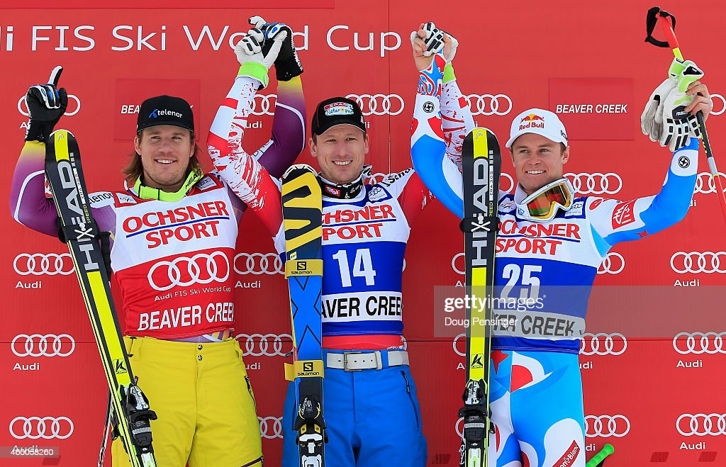 Kjetil Jansrud of Norway in second place, Hannes Reichelt of Austria in first place and Alexis Pinturault of France take the podium for the Audi FIS World Cup Men's Super G Race on the Birds of Prey course on December 6, 2014 in Beaver Creek, Colorado.