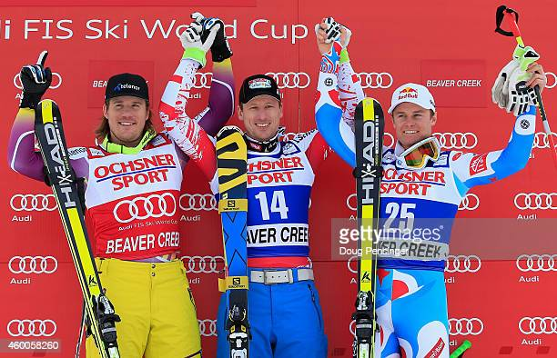 Kjetil Jansrud of Norway in second place Hannes Reichelt of Austria in first place and Alexis Pinturault of France take the podium for the Audi FIS...