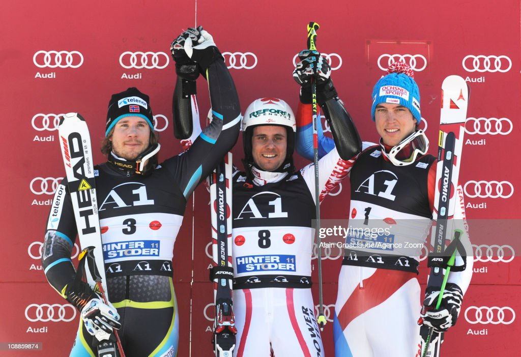 <a gi-track='captionPersonalityLinkClicked' href=/galleries/search?phrase=Kjetil+Jansrud&family=editorial&specificpeople=816480 ng-click='$event.stopPropagation()'>Kjetil Jansrud</a> of Norway, Philipp Schoerghofer of Austria, <a gi-track='captionPersonalityLinkClicked' href=/galleries/search?phrase=Carlo+Janka&family=editorial&specificpeople=5622589 ng-click='$event.stopPropagation()'>Carlo Janka</a> of Switzerland on the podium during the Audi FIS Alpine Ski World Cup Men's Giant Slalom on February 6, 2011 in Hinterstoder, Austria.