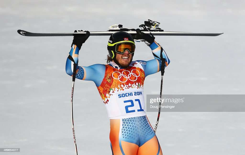 <a gi-track='captionPersonalityLinkClicked' href=/galleries/search?phrase=Kjetil+Jansrud&family=editorial&specificpeople=816480 ng-click='$event.stopPropagation()'>Kjetil Jansrud</a> of Norway reacts after a run during the Alpine Skiing Men's Super-G on day 9 of the Sochi 2014 Winter Olympics at Rosa Khutor Alpine Center on February 16, 2014 in Sochi, Russia.