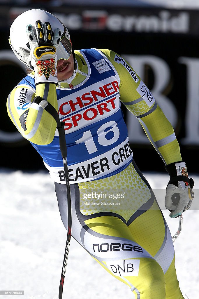 <a gi-track='captionPersonalityLinkClicked' href=/galleries/search?phrase=Kjetil+Jansrud&family=editorial&specificpeople=816480 ng-click='$event.stopPropagation()'>Kjetil Jansrud</a> #18 of Norway reacts in the finish area after his run during the men's Super G on the Birds of Prey at the Audi FIS World Cup on December 1, 2012 in Beaver Creek, Colorado.