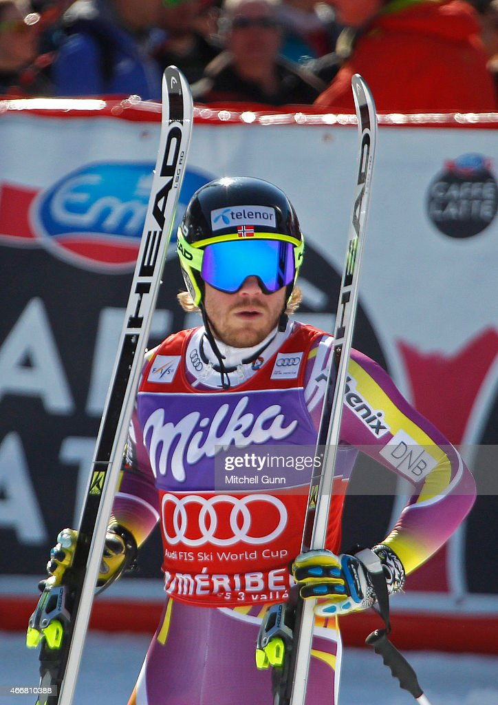 <a gi-track='captionPersonalityLinkClicked' href=/galleries/search?phrase=Kjetil+Jansrud&family=editorial&specificpeople=816480 ng-click='$event.stopPropagation()'>Kjetil Jansrud</a> of Norway reacts in the finish area of the FIS Alpine Ski World Cup men's Super-G race on March 19, 2015 in Meribel, France.