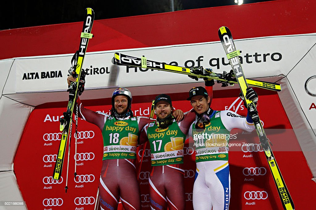<a gi-track='captionPersonalityLinkClicked' href=/galleries/search?phrase=Kjetil+Jansrud&family=editorial&specificpeople=816480 ng-click='$event.stopPropagation()'>Kjetil Jansrud</a> of Norway takes 1st place, <a gi-track='captionPersonalityLinkClicked' href=/galleries/search?phrase=Aksel+Lund+Svindal&family=editorial&specificpeople=227957 ng-click='$event.stopPropagation()'>Aksel Lund Svindal</a> of Norway takes 2nd place, <a gi-track='captionPersonalityLinkClicked' href=/galleries/search?phrase=Andre+Myhrer&family=editorial&specificpeople=835341 ng-click='$event.stopPropagation()'>Andre Myhrer</a> of Sweden takes 3rd place during the Audi FIS Alpine Ski World Cup Men's Parallel Giant Slalom on December 21, 2015 in Alta Badia, Italy.