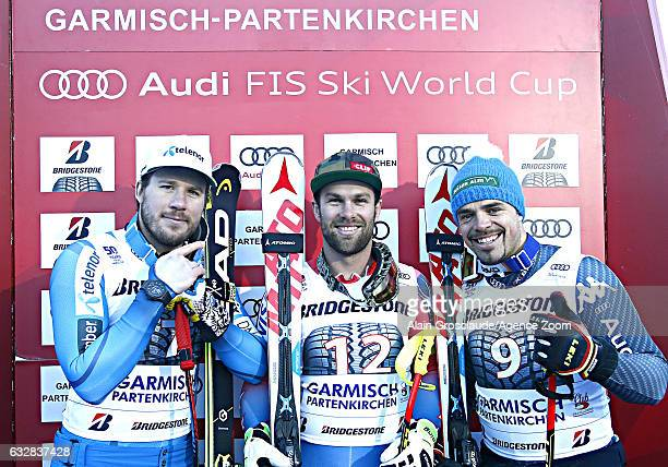 Kjetil Jansrud of Norway takes 2nd place Travis Ganong of USA takes 1st place Peter Fill of Italy takes 3rd place during the Audi FIS Alpine Ski...