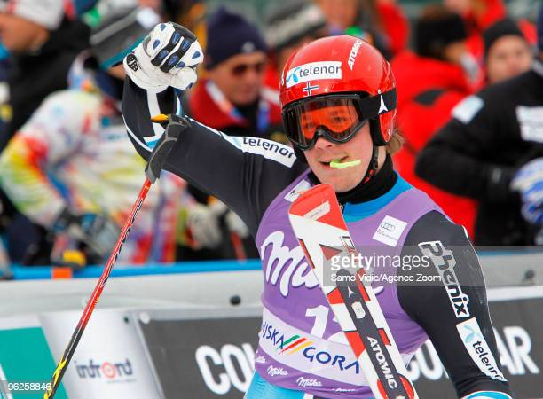 Kjetil Jansrud of Norway takes 3rd place during the Audi FIS Alpine Ski World Cup Men's Giant Slalom on January 29 2010 in Kranjska Gora Slovenia