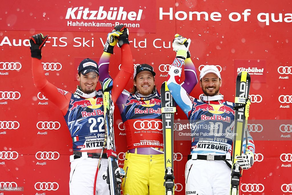 Kjetil Jansrud of Norway takes the 1st place,Dominik Paris of Italy takes the 2nd place,Guillermo Fayed of France takes the 3rd place during the Audi FIS Alpine Ski World Cup Men's Downhill on January 24, 2015 in Kitzbuehel, Austria.