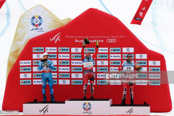 Kjetil Jansrud of Norway wins the silver medal Erik Guay of Canada wins the gold medal Manuel Osborneparadis of Canada wins the bronze medal during...