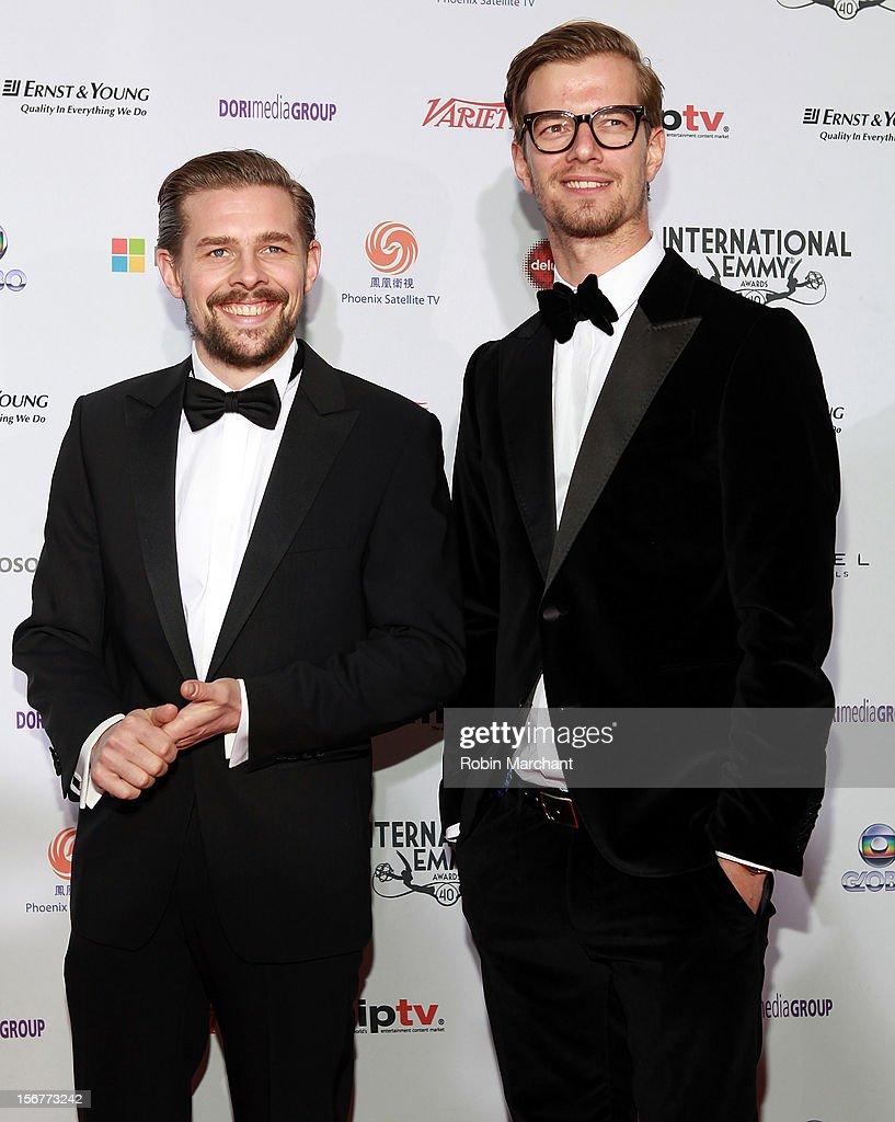 Klaas Heufer-Umlauf (L) and Joachim 'Joko' Winterscheidt attend the 40th International Emmy Awards on November 19, 2012 in New York City.