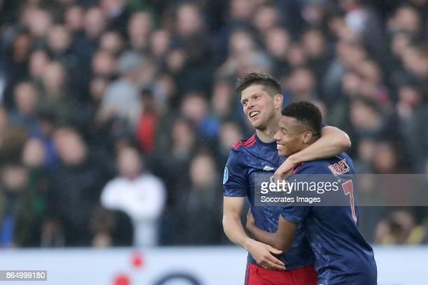 Klaas Jan Huntelaar of Ajax celebrates 01 with David Neres of Ajax during the Dutch Eredivisie match between Feyenoord v Ajax at the Feyenoord...