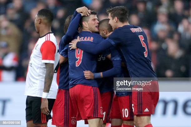 Klaas Jan Huntelaar of Ajax celebrates 01 with Lasse Schone of Ajax Hakim Ziyech of Ajax Maximilian Wober of Ajax during the Dutch Eredivisie match...