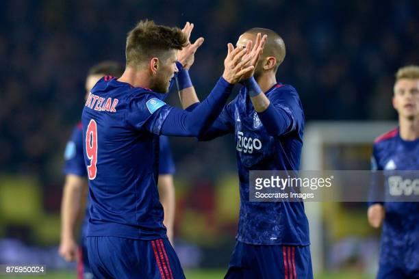 Klaas Jan Huntelaar of Ajax celebrates 07 with Hakim Ziyech of Ajax during the Dutch Eredivisie match between NAC Breda v Ajax at the Rat Verlegh...
