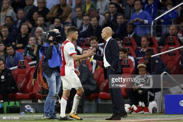 Klaas Jan Huntelaar of Ajax Coach Marcel Keizer of Ajax during the Dutch Eredivisie match between Ajax Amsterdam and Sparta Rotterdam at the...
