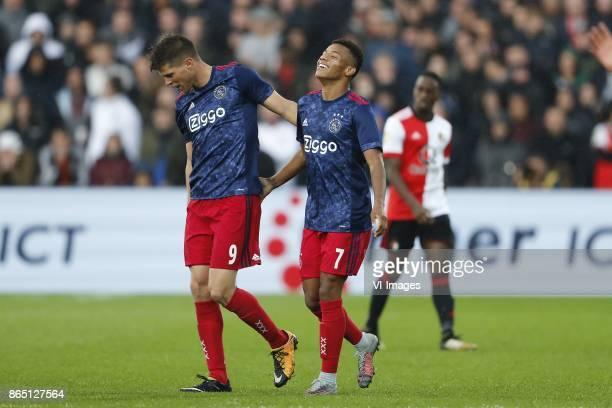 Klaas Jan Huntelaar of Ajax David Neres of Ajax Ridgeciano Haps of Feyenoord during the Dutch Eredivisie match between Feyenoord Rotterdam and Ajax...