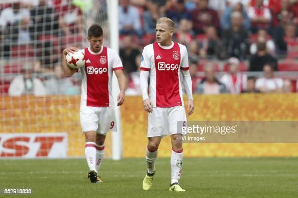 Klaas Jan Huntelaar of Ajax Donny van de Beek of Ajax during the Dutch Eredivisie match between Ajax Amsterdam and Vitesse Arnhem at the Amsterdam...