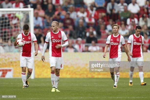 Klaas Jan Huntelaar of Ajax Donny van de Beek of Ajax Frenkie de Jong of Ajax Nick Viergever of Ajax during the Dutch Eredivisie match between Ajax...