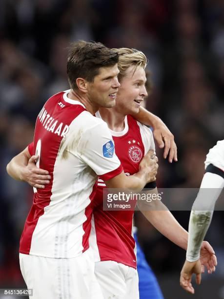 Klaas Jan Huntelaar of Ajax Frenkie de Jong of Ajax during the Dutch Eredivisie match between Ajax Amsterdam and PEC Zwolle at the Amsterdam Arena on...