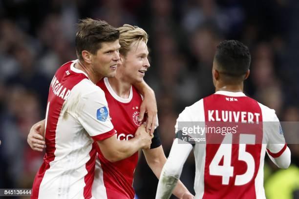 Klaas Jan Huntelaar of Ajax Frenkie de Jong of Ajax Justin Kluivert of Ajax during the Dutch Eredivisie match between Ajax Amsterdam and PEC Zwolle...
