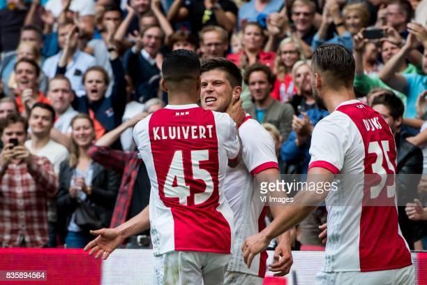 10 Klaas Jan Huntelaar of Ajax Justin Kluivert of Ajax Mitchell Dijks of Ajax during the Dutch Eredivisie match between Ajax Amsterdam and FC...