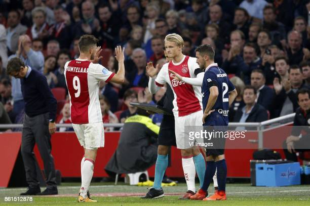 Klaas Jan Huntelaar of Ajax Kasper Dolberg of Ajax during the Dutch Eredivisie match between Ajax Amsterdam and Sparta Rotterdam at the Amsterdam...