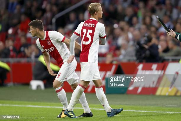Klaas Jan Huntelaar of Ajax Kasper Dolberg of Ajax during the UEFA Europa League fourth round qualifying first leg match between Ajax Amsterdam and...
