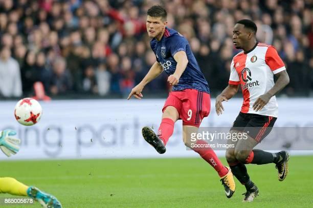 Klaas Jan Huntelaar of Ajax scores his sideÃs first goal to make it 01 during the Dutch Eredivisie match between Feyenoord v Ajax at the Feyenoord...
